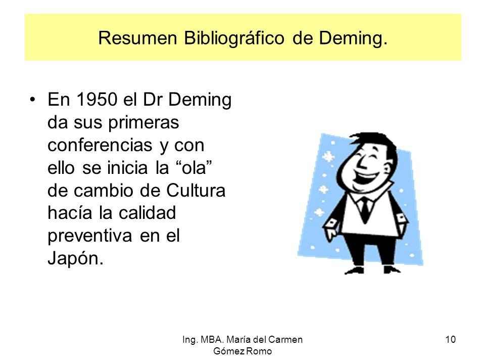 Resumen Bibliográfico de Deming. En 1950 el Dr Deming da sus primeras conferencias y con ello se inicia la ola de cambio de Cultura hacía la calidad p