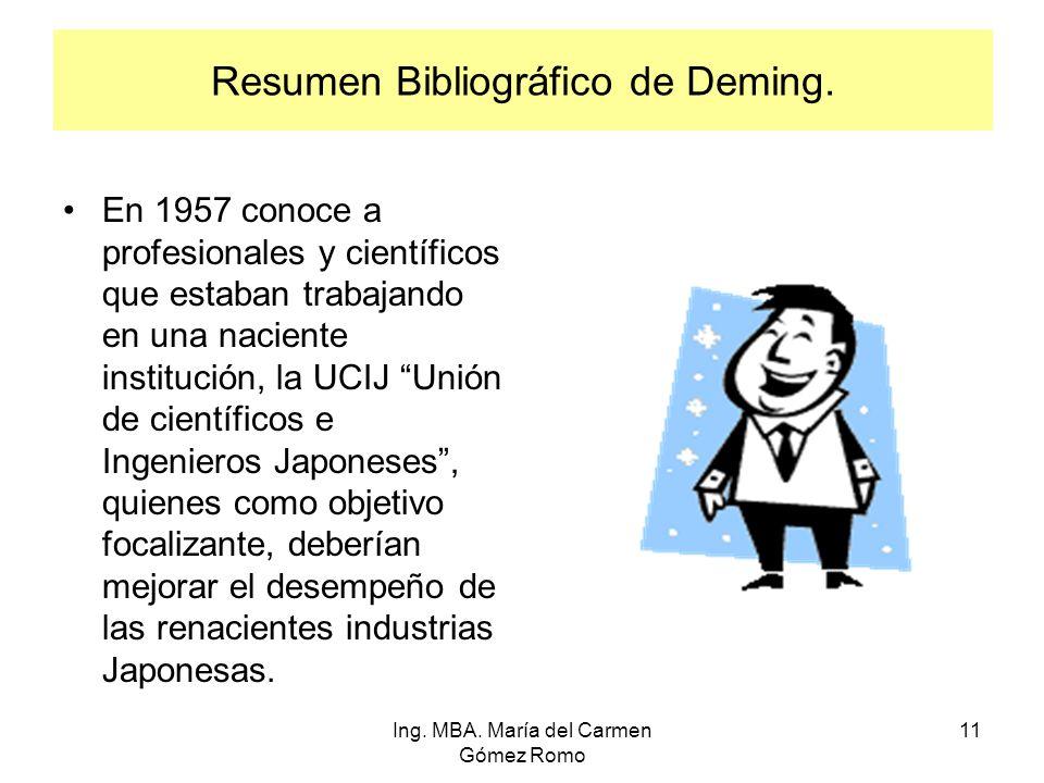 Resumen Bibliográfico de Deming. En 1957 conoce a profesionales y científicos que estaban trabajando en una naciente institución, la UCIJ Unión de cie