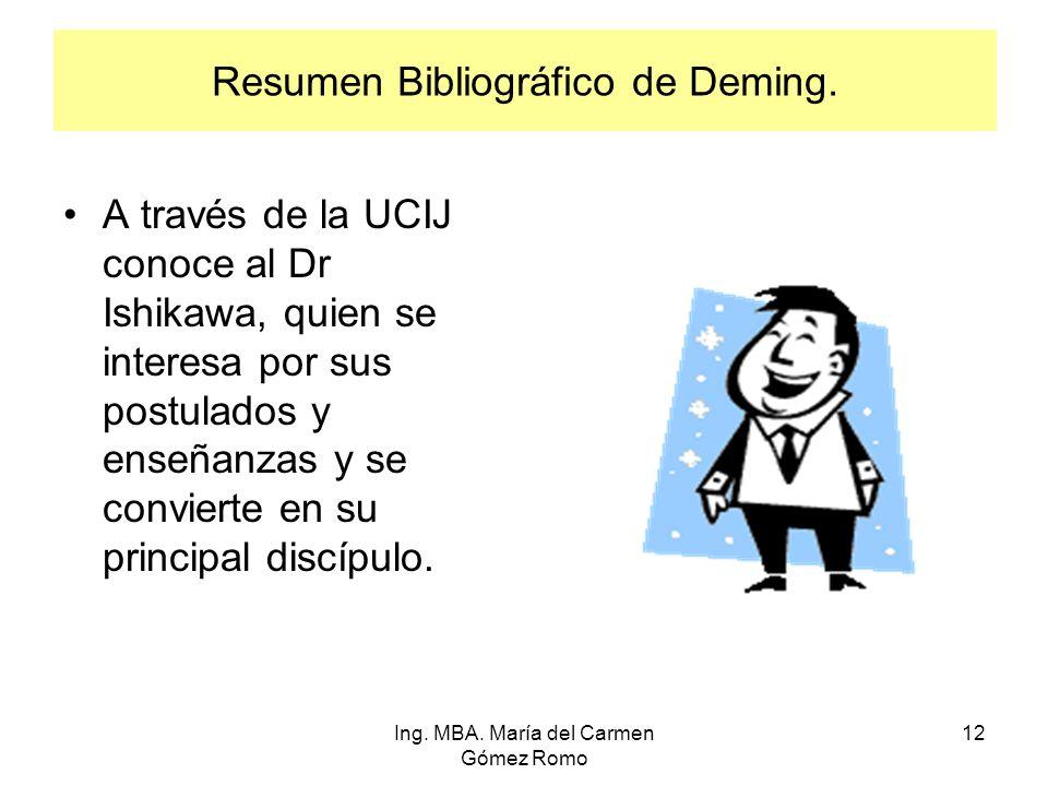 Resumen Bibliográfico de Deming. A través de la UCIJ conoce al Dr Ishikawa, quien se interesa por sus postulados y enseñanzas y se convierte en su pri