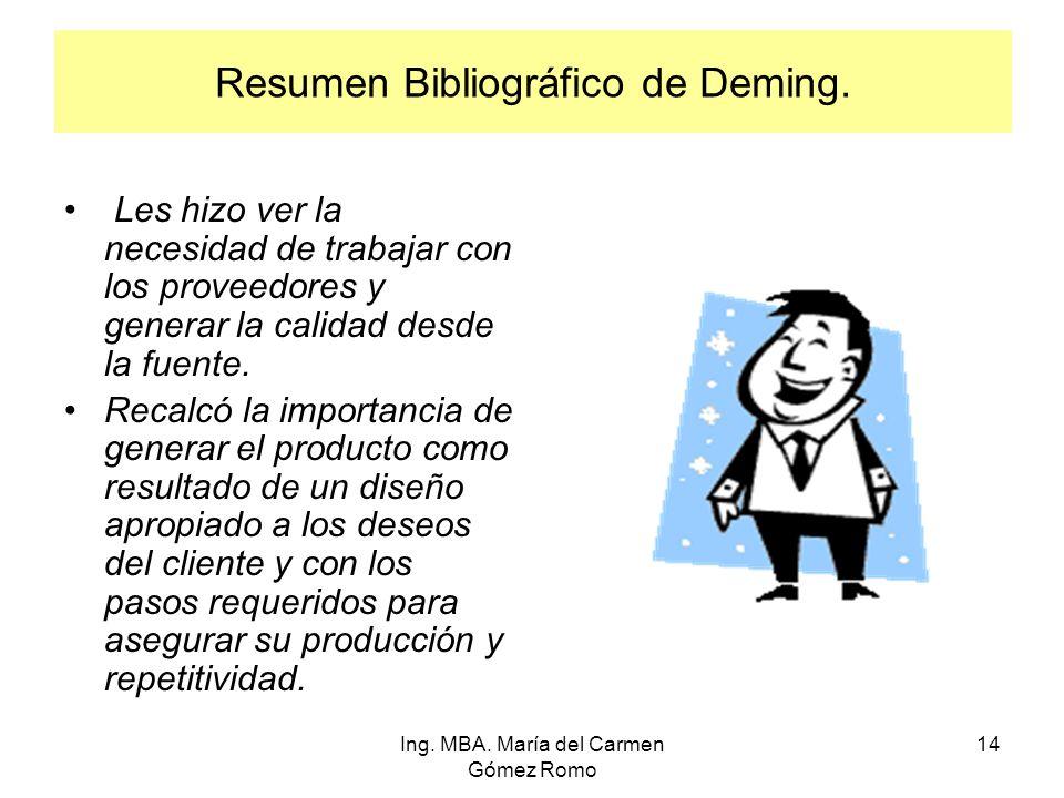 Resumen Bibliográfico de Deming. Les hizo ver la necesidad de trabajar con los proveedores y generar la calidad desde la fuente. Recalcó la importanci