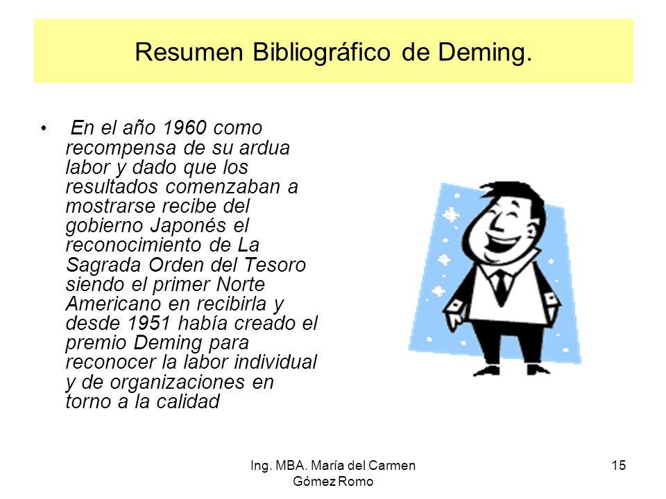 Resumen Bibliográfico de Deming. En el año 1960 como recompensa de su ardua labor y dado que los resultados comenzaban a mostrarse recibe del gobierno