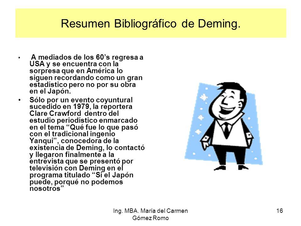 Resumen Bibliográfico de Deming. A mediados de los 60s regresa a USA y se encuentra con la sorpresa que en América lo siguen recordando como un gran e