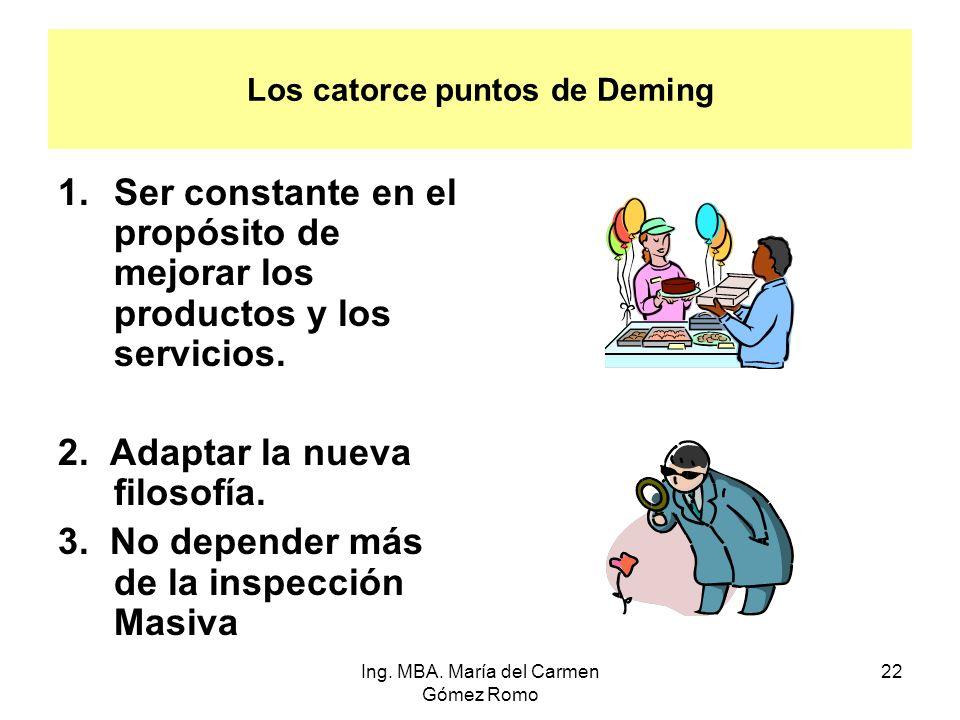 Los catorce puntos de Deming 1.Ser constante en el propósito de mejorar los productos y los servicios. 2. Adaptar la nueva filosofía. 3. No depender m