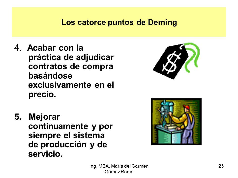 Los catorce puntos de Deming 4. Acabar con la práctica de adjudicar contratos de compra basándose exclusivamente en el precio. 5. Mejorar continuament