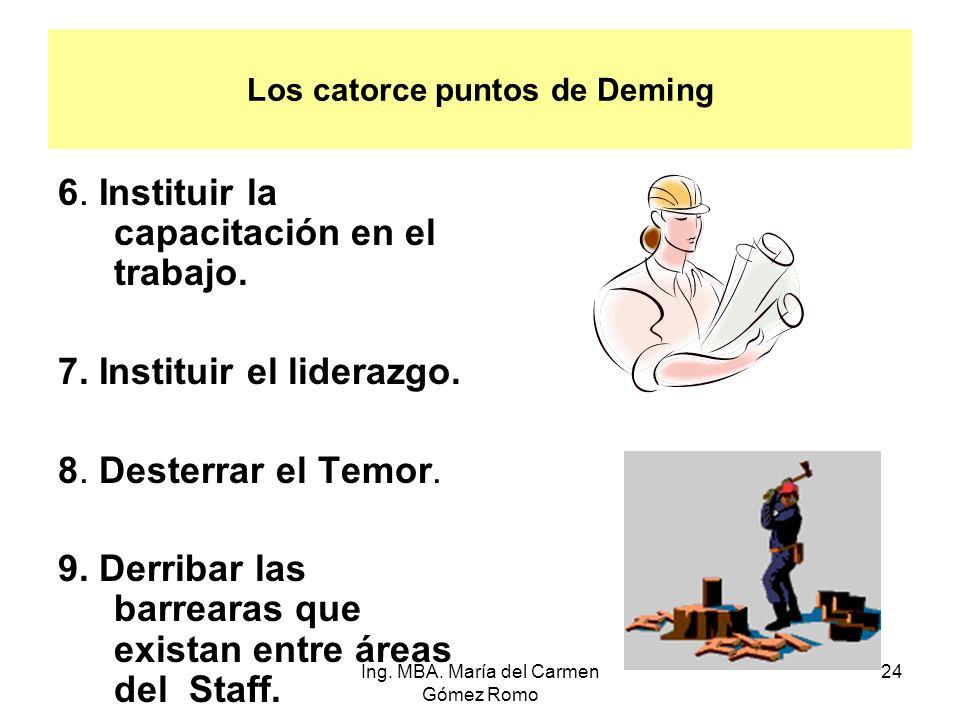 Los catorce puntos de Deming 6. Instituir la capacitación en el trabajo. 7. Instituir el liderazgo. 8. Desterrar el Temor. 9. Derribar las barrearas q
