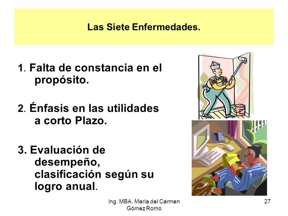 Las Siete Enfermedades. 1. Falta de constancia en el propósito. 2. Énfasis en las utilidades a corto Plazo. 3. Evaluación de desempeño, clasificación