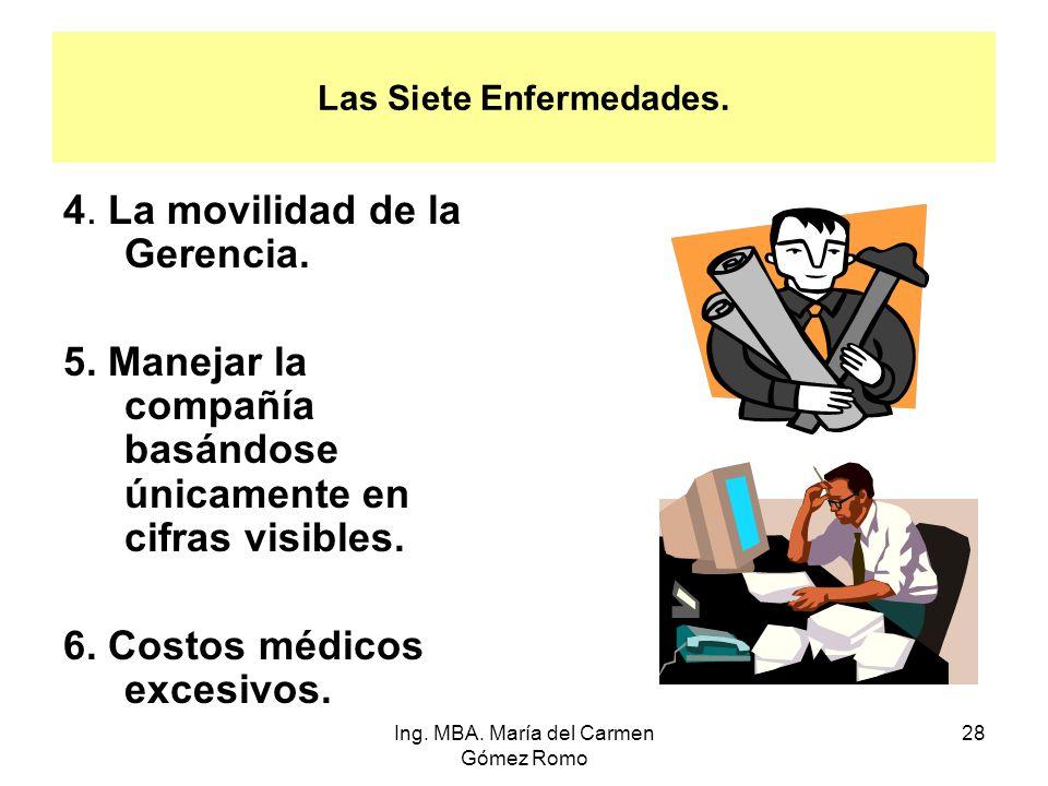 Las Siete Enfermedades. 4. La movilidad de la Gerencia. 5. Manejar la compañía basándose únicamente en cifras visibles. 6. Costos médicos excesivos. 2
