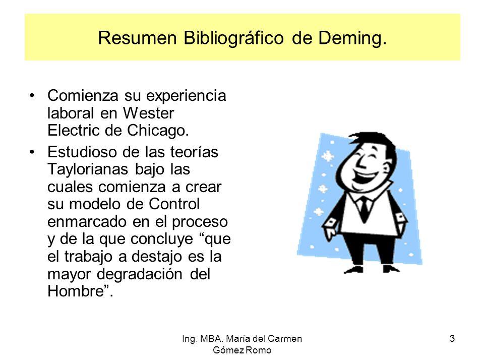 Resumen Bibliográfico de Deming. Comienza su experiencia laboral en Wester Electric de Chicago. Estudioso de las teorías Taylorianas bajo las cuales c