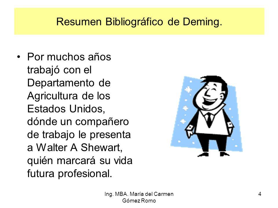 Resumen Bibliográfico de Deming. Por muchos años trabajó con el Departamento de Agricultura de los Estados Unidos, dónde un compañero de trabajo le pr