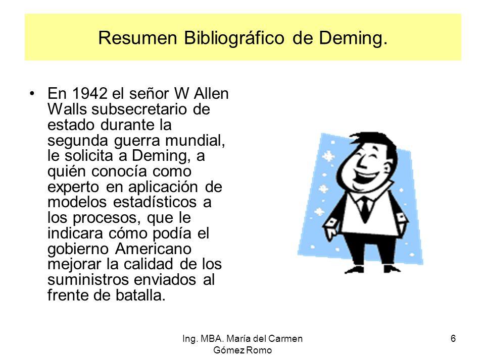 Resumen Bibliográfico de Deming. En 1942 el señor W Allen Walls subsecretario de estado durante la segunda guerra mundial, le solicita a Deming, a qui