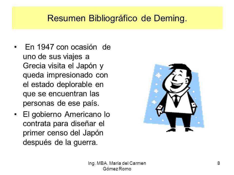 Resumen Bibliográfico de Deming. En 1947 con ocasión de uno de sus viajes a Grecia visita el Japón y queda impresionado con el estado deplorable en qu