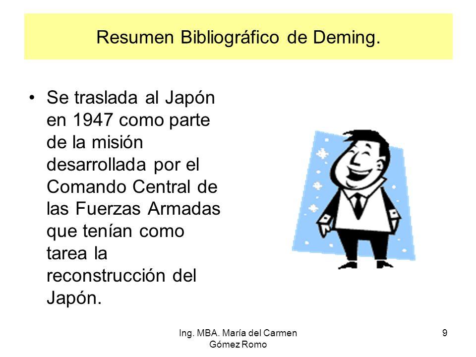 Resumen Bibliográfico de Deming. Se traslada al Japón en 1947 como parte de la misión desarrollada por el Comando Central de las Fuerzas Armadas que t