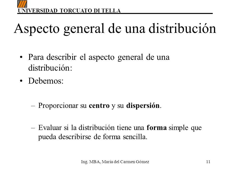 UNIVERSIDAD TORCUATO DI TELLA Ing. MBA, María del Carmen Gómez11 Aspecto general de una distribución Para describir el aspecto general de una distribu