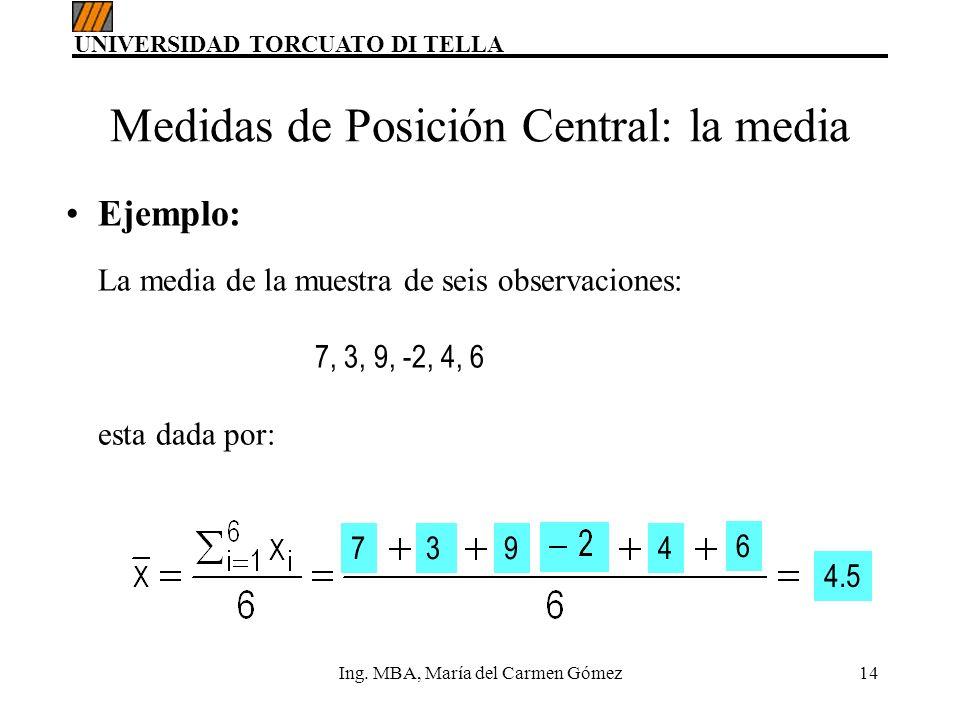 UNIVERSIDAD TORCUATO DI TELLA Ing. MBA, María del Carmen Gómez14 Ejemplo: La media de la muestra de seis observaciones: 7, 3, 9, -2, 4, 6 esta dada po