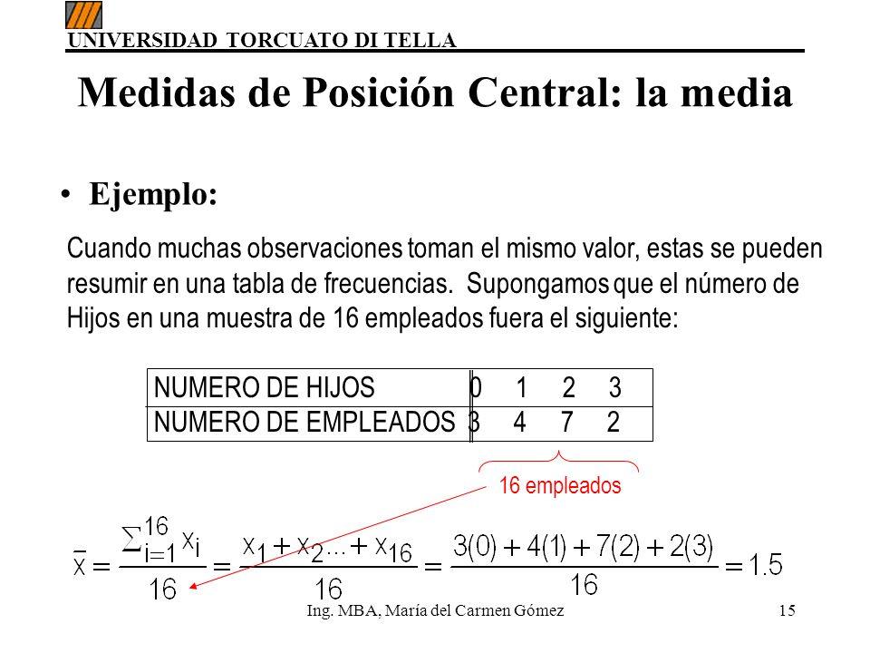 UNIVERSIDAD TORCUATO DI TELLA Ing. MBA, María del Carmen Gómez15 16 empleados Medidas de Posición Central: la media Cuando muchas observaciones toman