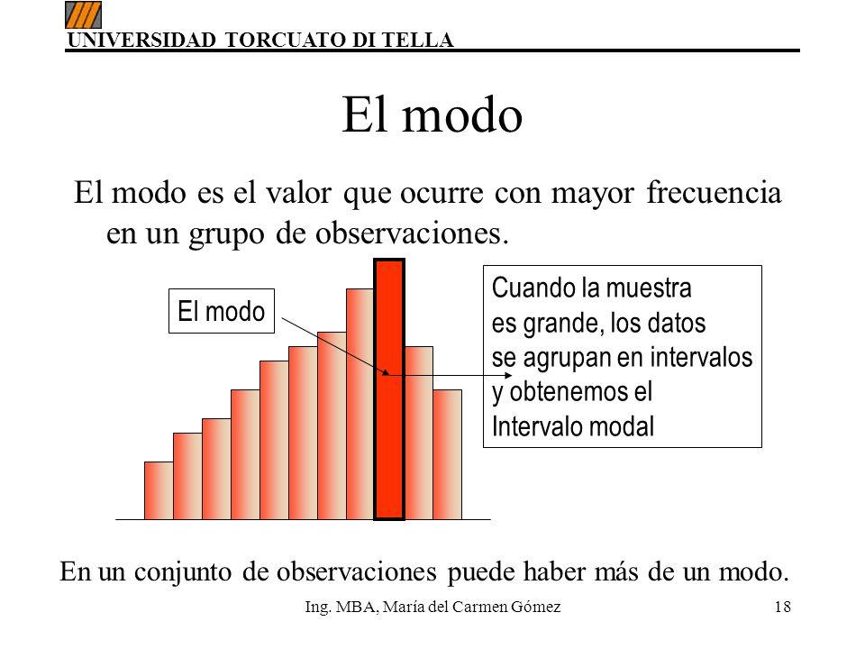 UNIVERSIDAD TORCUATO DI TELLA Ing. MBA, María del Carmen Gómez18 El modo es el valor que ocurre con mayor frecuencia en un grupo de observaciones. El