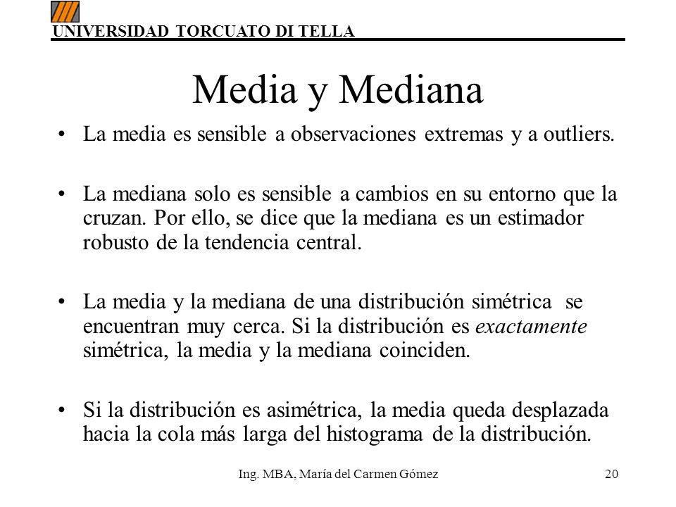UNIVERSIDAD TORCUATO DI TELLA Ing. MBA, María del Carmen Gómez20 Media y Mediana La media es sensible a observaciones extremas y a outliers. La median