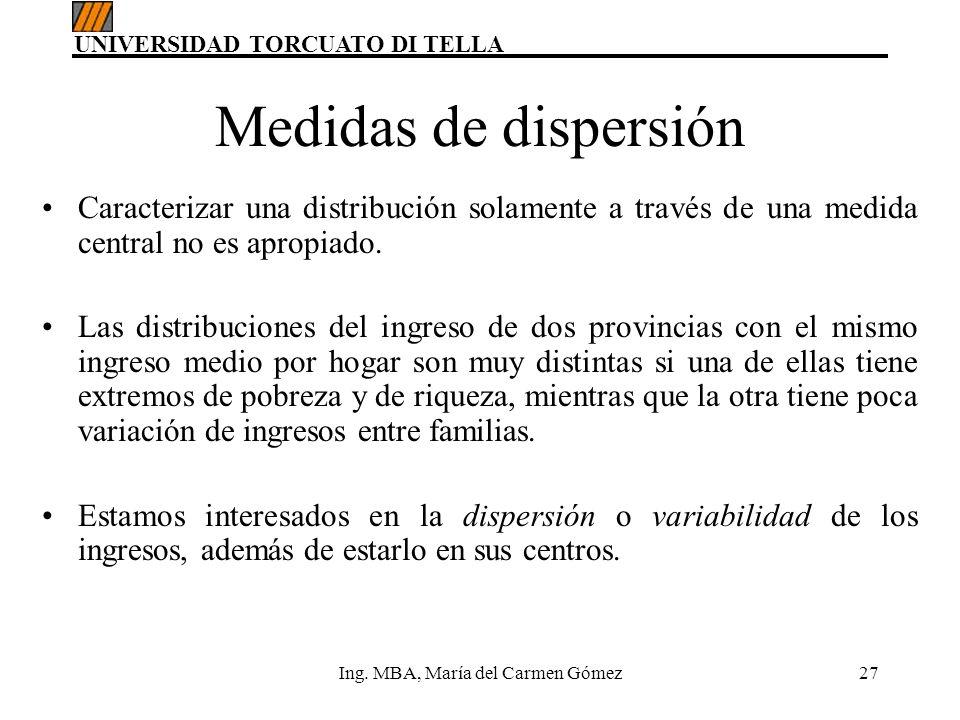 UNIVERSIDAD TORCUATO DI TELLA Ing. MBA, María del Carmen Gómez27 Medidas de dispersión Caracterizar una distribución solamente a través de una medida