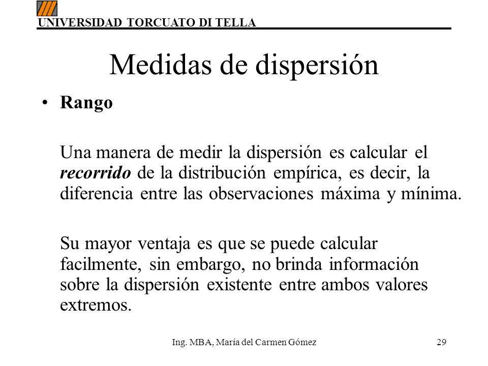 UNIVERSIDAD TORCUATO DI TELLA Ing. MBA, María del Carmen Gómez29 Medidas de dispersión Rango Una manera de medir la dispersión es calcular el recorrid