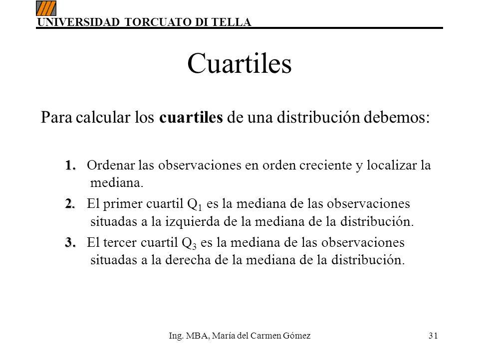 UNIVERSIDAD TORCUATO DI TELLA Ing. MBA, María del Carmen Gómez31 Cuartiles Para calcular los cuartiles de una distribución debemos: 1. 1. Ordenar las