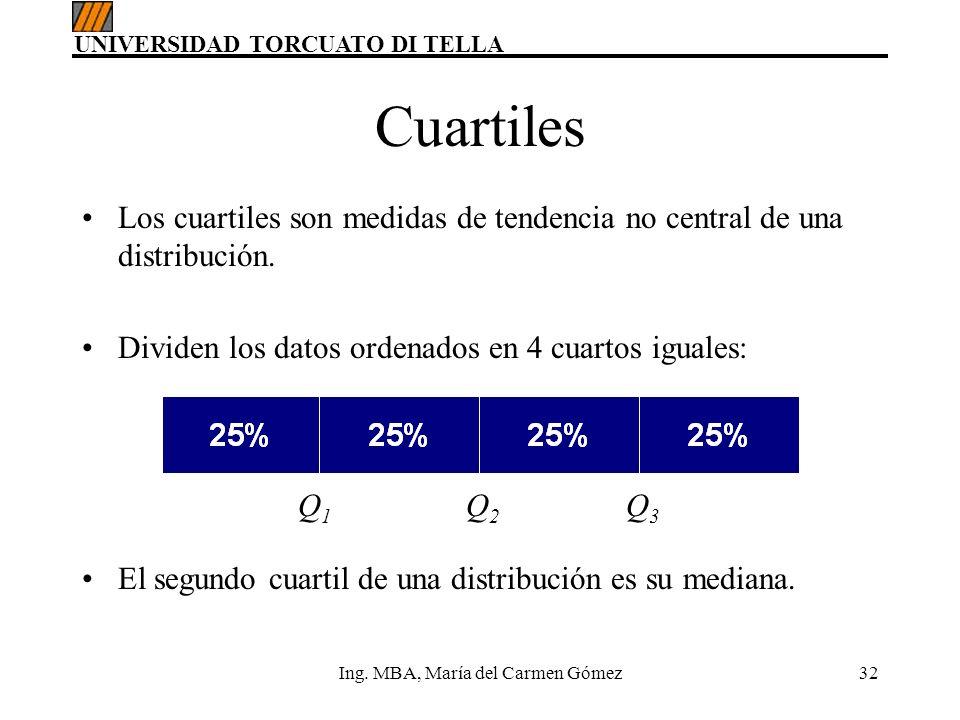 UNIVERSIDAD TORCUATO DI TELLA Ing. MBA, María del Carmen Gómez32 Cuartiles Los cuartiles son medidas de tendencia no central de una distribución. Divi