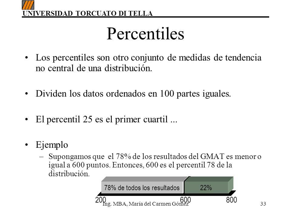UNIVERSIDAD TORCUATO DI TELLA Ing. MBA, María del Carmen Gómez33 Percentiles Los percentiles son otro conjunto de medidas de tendencia no central de u