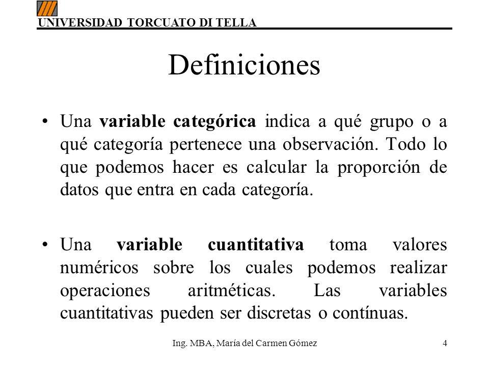 UNIVERSIDAD TORCUATO DI TELLA Ing. MBA, María del Carmen Gómez4 Definiciones Una variable categórica indica a qué grupo o a qué categoría pertenece un