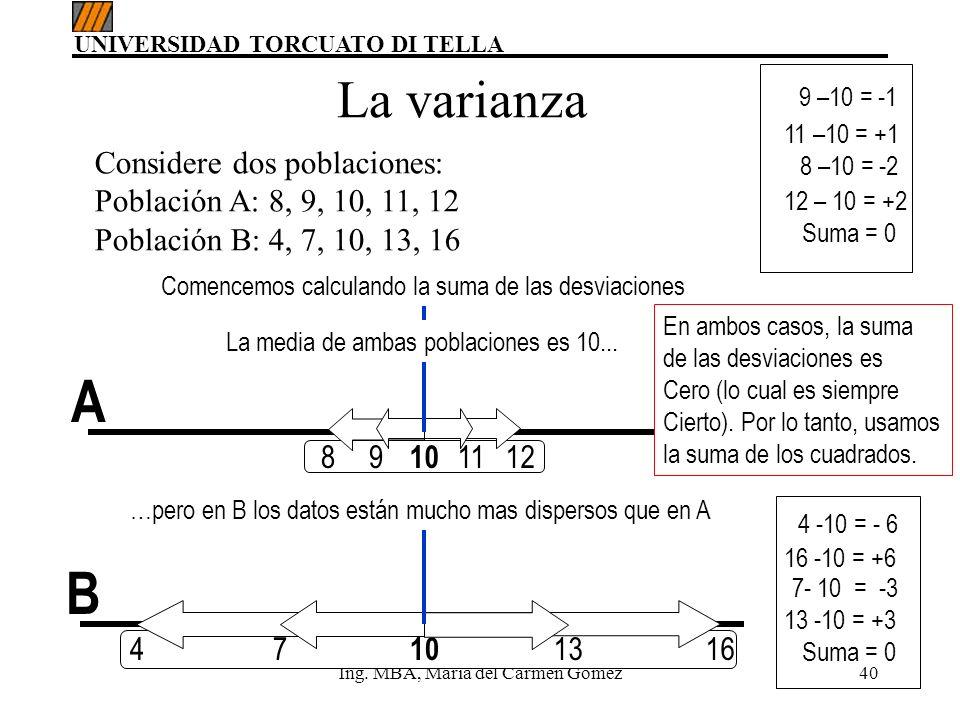 UNIVERSIDAD TORCUATO DI TELLA Ing. MBA, María del Carmen Gómez40 Considere dos poblaciones: Población A: 8, 9, 10, 11, 12 Población B: 4, 7, 10, 13, 1
