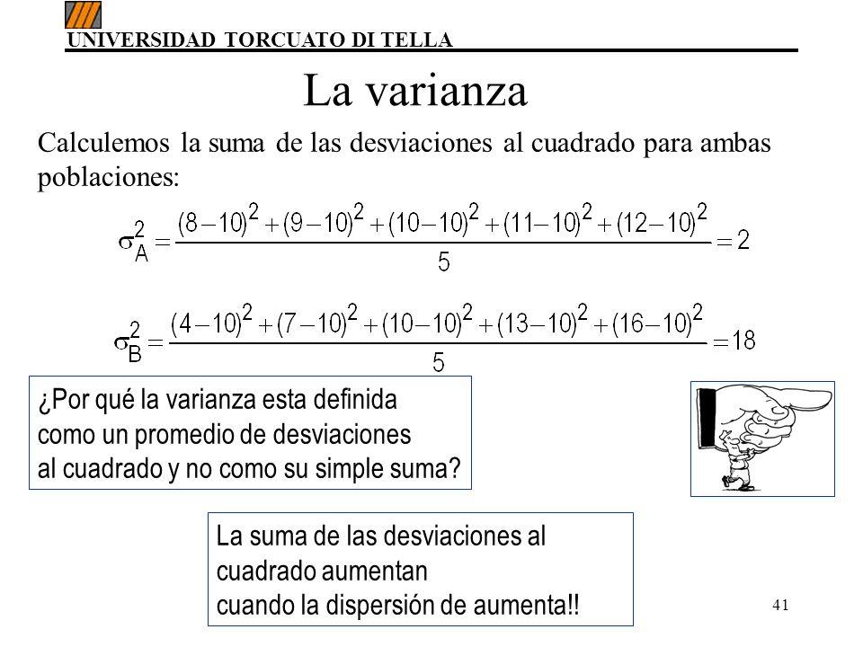 UNIVERSIDAD TORCUATO DI TELLA Ing. MBA, María del Carmen Gómez41 Calculemos la suma de las desviaciones al cuadrado para ambas poblaciones: ¿Por qué l