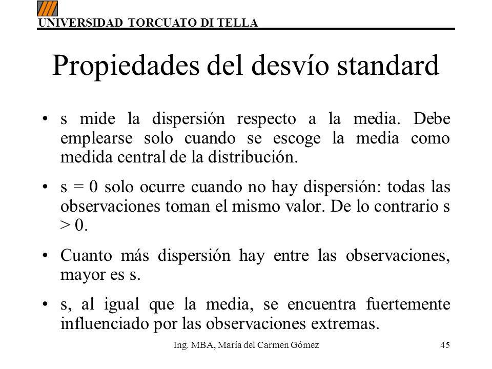 UNIVERSIDAD TORCUATO DI TELLA Ing. MBA, María del Carmen Gómez45 Propiedades del desvío standard s mide la dispersión respecto a la media. Debe emplea