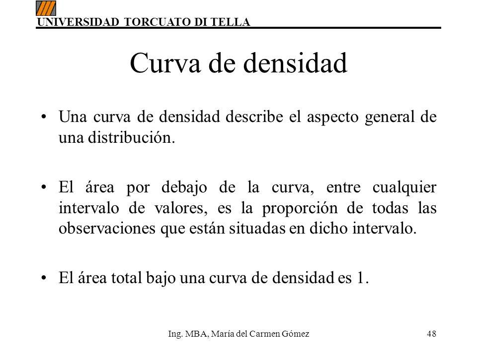 UNIVERSIDAD TORCUATO DI TELLA Ing. MBA, María del Carmen Gómez48 Curva de densidad Una curva de densidad describe el aspecto general de una distribuci