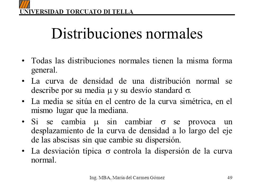 UNIVERSIDAD TORCUATO DI TELLA Ing. MBA, María del Carmen Gómez49 Distribuciones normales Todas las distribuciones normales tienen la misma forma gener