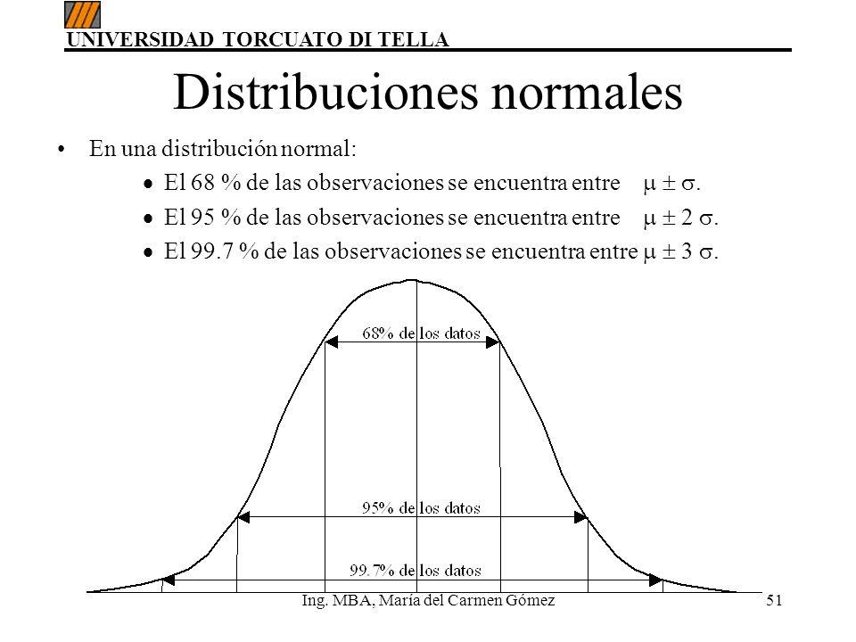 UNIVERSIDAD TORCUATO DI TELLA Ing. MBA, María del Carmen Gómez51 Distribuciones normales En una distribución normal: El 68 % de las observaciones se e
