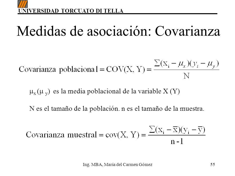 UNIVERSIDAD TORCUATO DI TELLA Ing. MBA, María del Carmen Gómez55 x ( y ) es la media poblacional de la variable X (Y) N es el tamaño de la población.