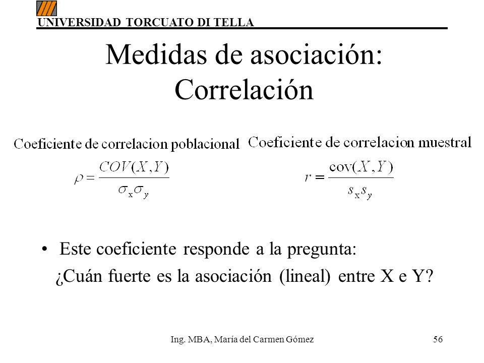 UNIVERSIDAD TORCUATO DI TELLA Ing. MBA, María del Carmen Gómez56 Este coeficiente responde a la pregunta: ¿Cuán fuerte es la asociación (lineal) entre