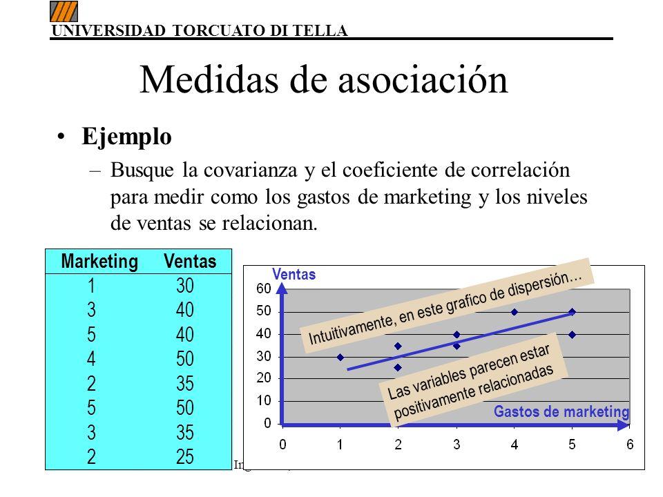 UNIVERSIDAD TORCUATO DI TELLA Ing. MBA, María del Carmen Gómez58 Ejemplo –Busque la covarianza y el coeficiente de correlación para medir como los gas