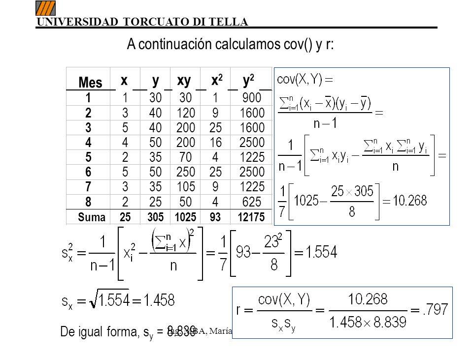 UNIVERSIDAD TORCUATO DI TELLA Ing. MBA, María del Carmen Gómez59 A continuación calculamos cov() y r: De igual forma, s y = 8.839