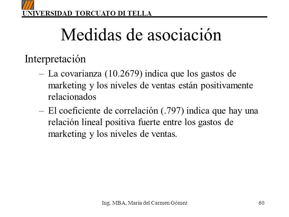 UNIVERSIDAD TORCUATO DI TELLA Ing. MBA, María del Carmen Gómez60 Interpretación –La covarianza (10.2679) indica que los gastos de marketing y los nive