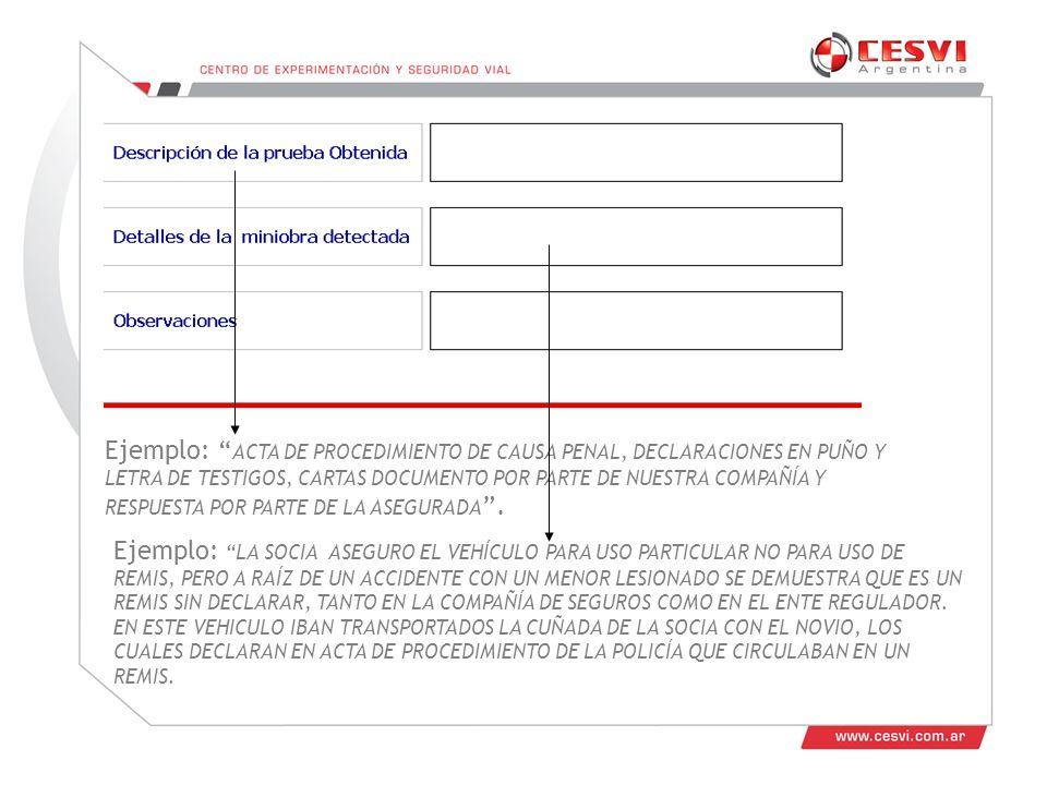 Ejemplo: ACTA DE PROCEDIMIENTO DE CAUSA PENAL, DECLARACIONES EN PUÑO Y LETRA DE TESTIGOS, CARTAS DOCUMENTO POR PARTE DE NUESTRA COMPAÑÍA Y RESPUESTA POR PARTE DE LA ASEGURADA.