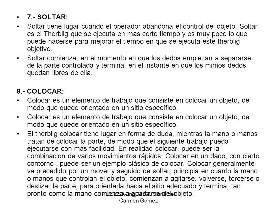PUCESA- Ing, MBA. María del Carmen Gómez 7.- SOLTAR: Soltar tiene lugar cuando el operador abandona el control del objeto. Soltar es el Therblig que s