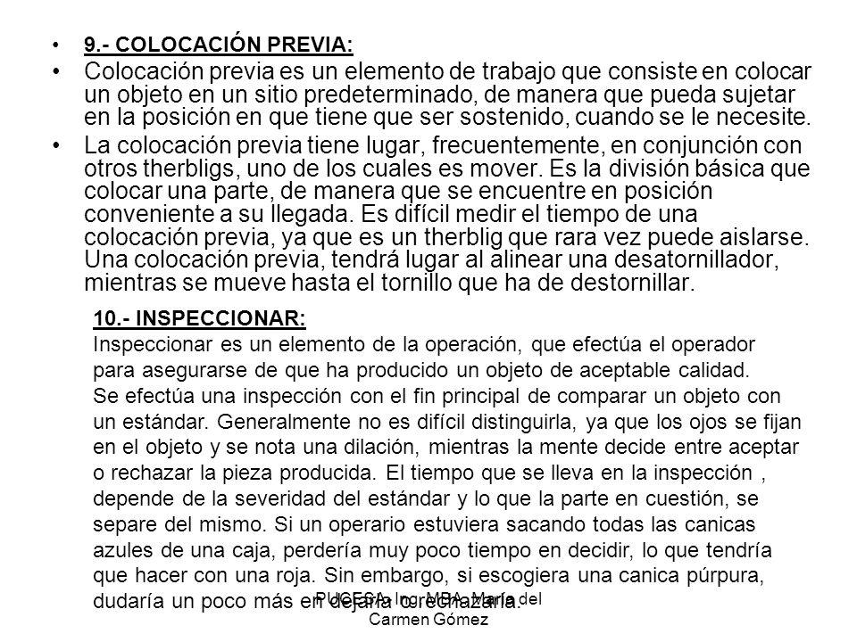 PUCESA- Ing, MBA. María del Carmen Gómez 9.- COLOCACIÓN PREVIA: Colocación previa es un elemento de trabajo que consiste en colocar un objeto en un si
