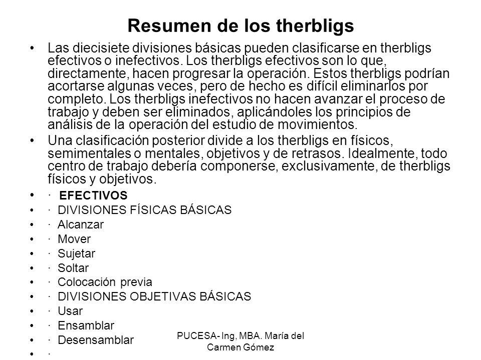 PUCESA- Ing, MBA. María del Carmen Gómez Las diecisiete divisiones básicas pueden clasificarse en therbligs efectivos o inefectivos. Los therbligs efe