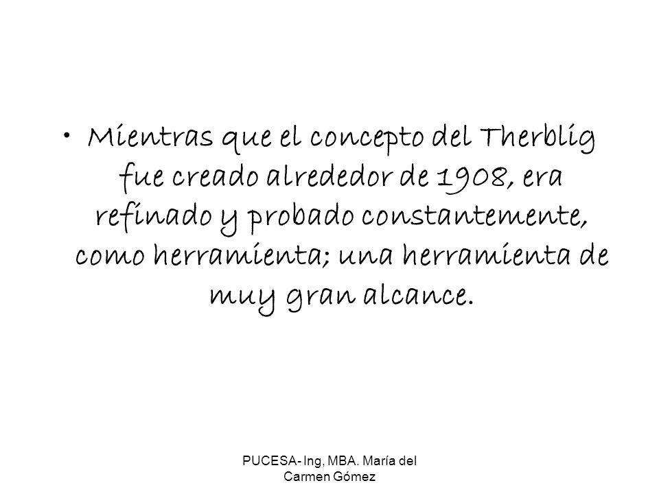 PUCESA- Ing, MBA. María del Carmen Gómez Mientras que el concepto del Therblig fue creado alrededor de 1908, era refinado y probado constantemente, co