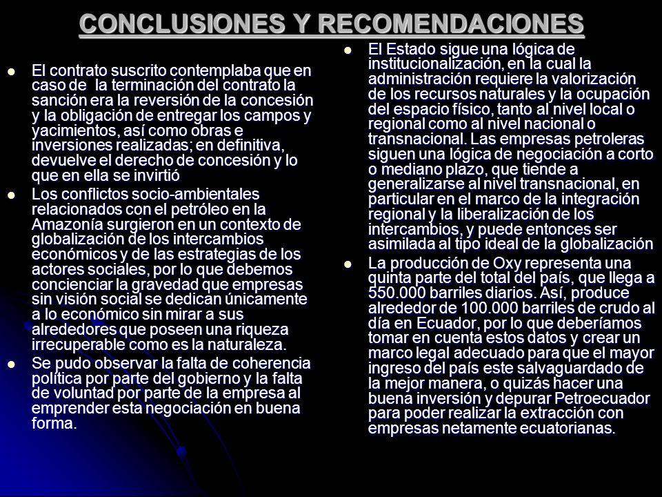 CONCLUSIONES Y RECOMENDACIONES El contrato suscrito contemplaba que en caso de la terminación del contrato la sanción era la reversión de la concesión