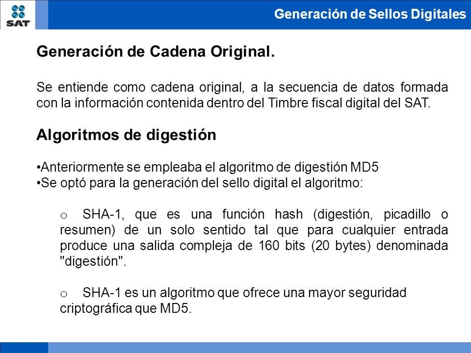 Generación de Sellos Digitales Generación de Cadena Original. Se entiende como cadena original, a la secuencia de datos formada con la información con