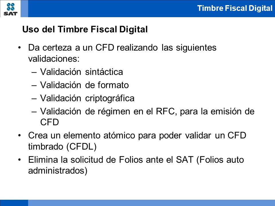 Da certeza a un CFD realizando las siguientes validaciones: –Validación sintáctica –Validación de formato –Validación criptográfica –Validación de rég