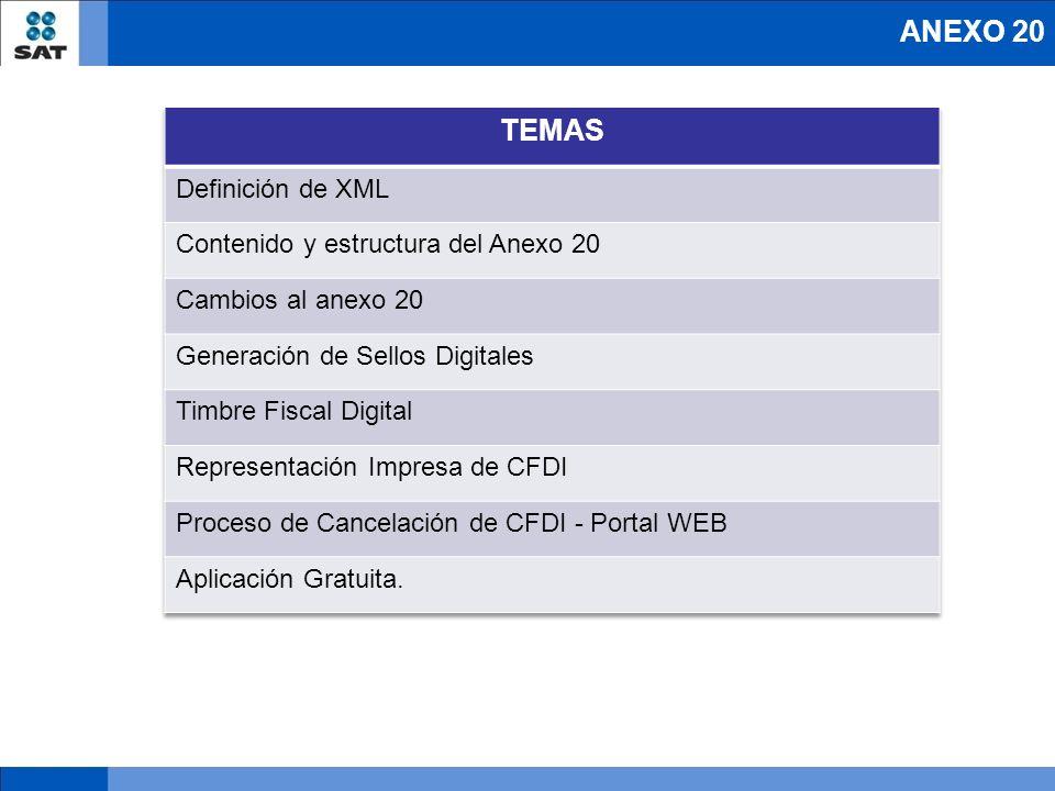 Cambios al actual Anexo 20 Atributo requerido versión 3.