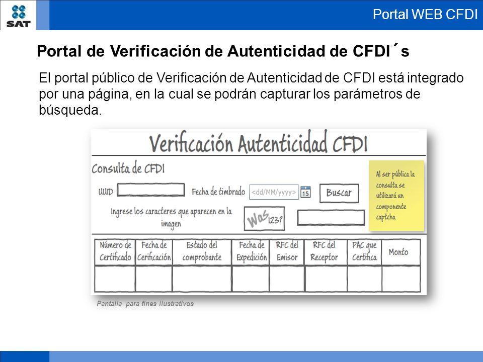 El portal público de Verificación de Autenticidad de CFDI está integrado por una página, en la cual se podrán capturar los parámetros de búsqueda. Por