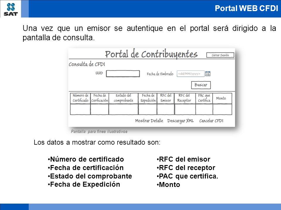 Una vez que un emisor se autentique en el portal será dirigido a la pantalla de consulta. Los datos a mostrar como resultado son: Número de certificad