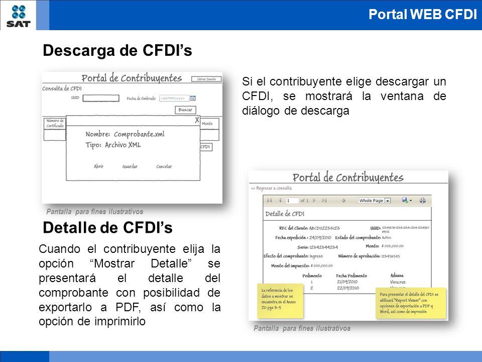 Si el contribuyente elige descargar un CFDI, se mostrará la ventana de diálogo de descarga Cuando el contribuyente elija la opción Mostrar Detalle se